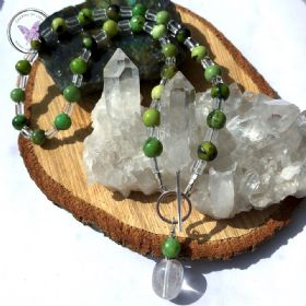 Chrysoprase & Clear Quartz Necklace